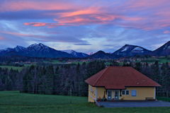 Austrian Alps mountains house dawn Stock Photography