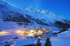 Austrian Alps. Night view the alpine village Vent in the Austrian Alps Stock Image