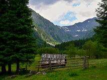 Austrian Alps-outlook on the mow in valley. Royalty Free Stock Image