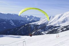 Austrian Alps: Paragliding from Skiregion Zettersfeld. Above the City of Lienz in East-Tirol Royalty Free Stock Image