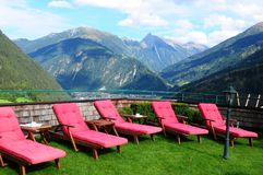 Austrian Alps: Relax area at Sporthotel Stock, Finkenberg, Zille. Rtal-Valley, Tirol Royalty Free Stock Photography