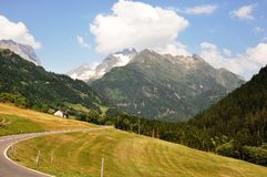 Austrian Alps. Road thru the Austrian Alps, with a lot of  amazing views Royalty Free Stock Photo