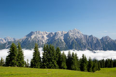 Austrian alps salzburg leogang. Blue sky morning fog beautiful scenery austrian alps in summer Royalty Free Stock Photos
