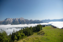 Austrian alps salzburg leogang. Blue sky morning fog beautiful scenery austrian alps in summer Royalty Free Stock Photo