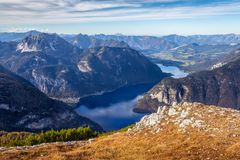 Austrian Alps scenic view in Obertraun. Scenic view of Austrian Alps from the Krippenstein of the Dachstein Mountains range in Obertraun, Austria stock photography