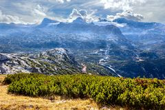Austrian Alps scenic view in Obertraun. Scenic view of Austrian Alps from the Krippenstein of the Dachstein Mountains range in Obertraun, Austria royalty free stock photos