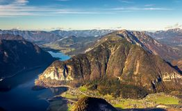 Austrian Alps scenic view in Obertraun. Scenic view of Austrian Alps from the Krippenstein of the Dachstein Mountains range in Obertraun, Austria royalty free stock image