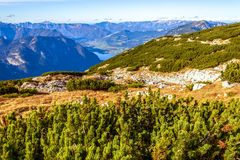 Austrian Alps scenic view in Obertraun. Scenic view of Austrian Alps from the Krippenstein of the Dachstein Mountains range in Obertraun, Austria stock image
