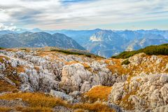 Austrian Alps scenic view in Obertraun. Scenic view of Austrian Alps  with rocks close up from the Dachstein-Krippenstein  Mountains range in Obertraun, Austria stock photography