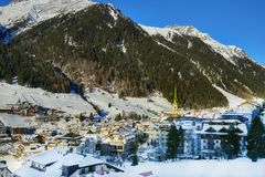 Austrian Alps ski resort Ischgl. Ischgl, Austria - December 24, 2017: Austrian Alps ski resort Ischgl. City is located between beautiful mountainsides in Tyrol Royalty Free Stock Image