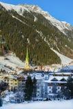 Austrian Alps ski resort Ischgl. Ischgl, Austria - December 24, 2017: Austrian Alps ski resort Ischgl. Town is located between beautiful mountainsides in Tyrol Stock Photos