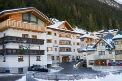 Austrian Alps ski resort Ischgl. Hotels in city center near cable car station. Ischgl, Austria - December 24, 2017: Austrian Alps ski resort Ischgl. Hotels in Royalty Free Stock Photos