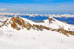 Austrian alps ski slope landscape Stock Photo