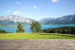 Austrian Alps: View from alpine pasture to lake Attersee, Salzburger Land, Austria Royalty Free Stock Photography
