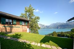 Austrian Alps: View from alpine pasture to lake Attersee, Salzburger Land, Austria Stock Photo