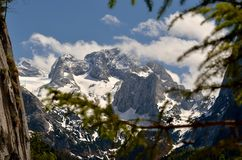 Austrian Alps. View of Hoher Dachstein from the lake Vorderer Gosausee stock photography