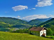 Austrian Alps-view of the St.Martin. View of the mountains and of the town St.Martin in Austrian Alps Stock Photography