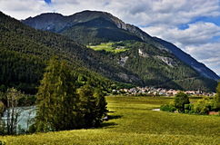 Austrian Alps-view to city Pfunds and river Inn. In the background the Alps Royalty Free Stock Images
