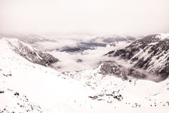 Austrian Alps in Winter. View from top of the mountain Royalty Free Stock Photo
