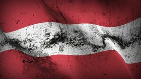 Austria grunge dirty flag waving on wind. Austrian background fullscreen grease flag blowing on wind. Realistic filth fabric texture on windy day Royalty Free Stock Image