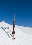 Austrian, Bad Gastein. Skis with sticks standing in the snow. Royalty Free Stock Photography