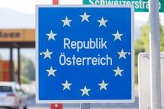 Austrian border sign with eu stars Stock Photography