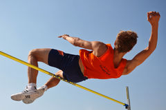 Austrian Championship 2009. LINZ, AUSTRIA - AUGUST 2 Austrian track and field championship: Oliver Baumgartner places third in the men's high jump event on Royalty Free Stock Photo