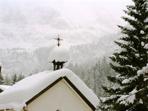 Austrian Chapel in snow. Winter scene of alpine chapel in snow RAW FILES OF NEWER BETTER VERSIONS OF THIS AND SIMILAR IMAGES OF SAME AREA royalty free stock photo
