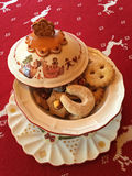 Austrian Christmas cookies, Vanillekipferl, linzer augen with ja Royalty Free Stock Image