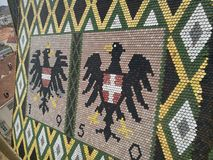 Austrian coat of arms on the roof. Austrian coat of arms on tile roof of Stephansdom cathedral, Vienna Stock Photos