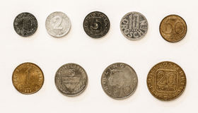 Austrian Coins 1-2-5-10-20-50 Groschen/Schilling. Here's a collection of some of my old coins from Austria, which have been replaced by the Euro and are not royalty free stock photos