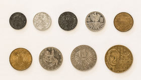 Austrian Coins 1-2-5-10-20-50 Groschen/Schilling Stock Photo