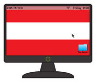 Austrian Computer Screen With On Button Stock Photo
