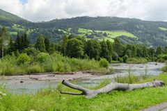 Austrian countryside landscape of the river Mur or Mura, Austria Royalty Free Stock Photo
