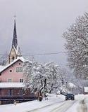 Austrian countryside under heavy snowfall Stock Image