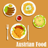 Austrian cuisine dinner dishes and salad Royalty Free Stock Image