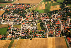 Austrian cultivated land and houses seen from a plane Royalty Free Stock Photography