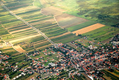 Austrian cultivated land seen from a plane Royalty Free Stock Photo