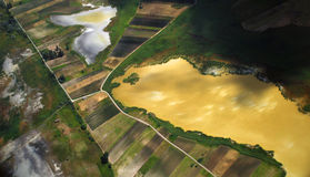 Austrian land and lake seen from a plane stock photography