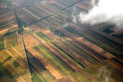 Austrian cultivated land seen from a plane Stock Images