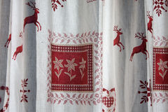 Austrian curtains. Curtains with patterns in austrian style Stock Photos