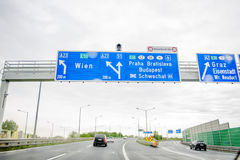 Austrian Federal Motorway Highway Direction Sign Royalty Free Stock Photos