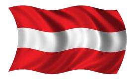 Austrian flag. Flag of Austria waving in the wind Stock Image