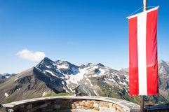 Austrian flag. At the grossglockner mountain Stock Photo