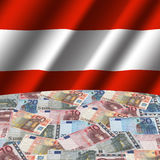 Austrian flag with euros Stock Photos
