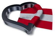 Austrian flag and heart symbol. 3d rendering Stock Photos