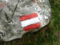 Austrian flag on rock Royalty Free Stock Photo