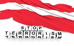 Austrian flag and text stop terrorism. 3D rendering Stock Photography