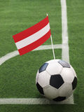 Austrian Flag on Top of Soccer Ball Stock Photography