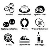 Austrian food - traditional meals an drink icons set Royalty Free Stock Images